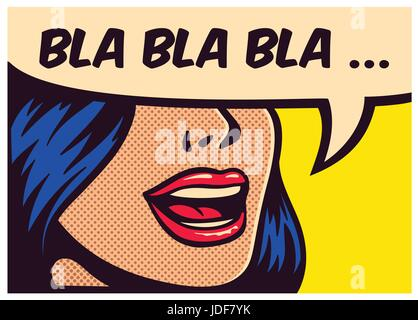 Pop art style comic book panel with girl talking nonsense small talk chatter in speech bubble vector poster design - Stock Photo
