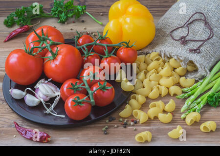 italian food concept. pasta ingredients. cherry-tomatoes