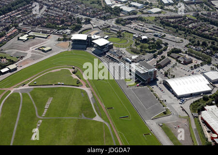 aerial view of Aintree Racecourse in Liverpool, UK - Stock Photo