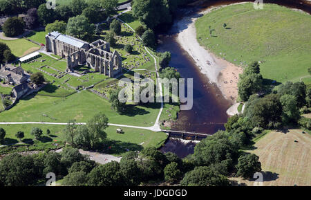 aerial view of Bolton Abbey (or Bolton Priory) & River Wharfe, near Skipton, Yorkshire, UK - Stock Photo