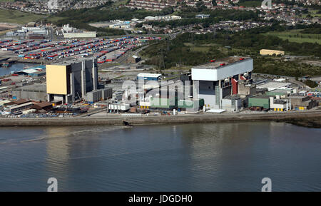 aerial view of Heysham nuclear power station, Lancashire, UK - Stock Photo