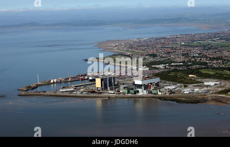aerial view of Heysham and the Lancashire coast, UK - Stock Photo