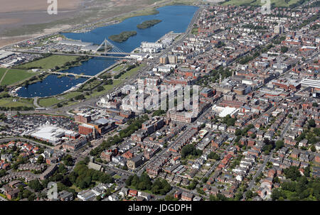 aerial view of Southport town centre, Lancashire, UK - Stock Photo