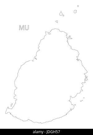 Mauritius districts outline silhouette map illustration with black ...