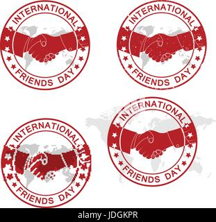 International Friends Day. Abstract grunge rubber stamp set, full editable vector - Stock Photo
