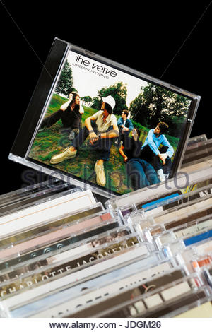 Urban Hymns, The Verve CD pulled out from among rows of other CD's, Dorset, England - Stock Photo