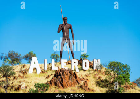 Huge iron sculpture of an aboriginal man at Aileron off the Stuart Highway north of Alice Springs, Northern Territory, - Stock Photo