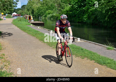 Cyclist on National Cycle Network along towpath of Kennet and Avon Canal near Theale, West Berkshire, UK - Stock Photo