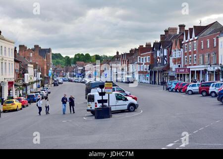 High Street in market town of Marlborough, Wiltshire, England, UK - Stock Photo