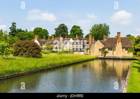 Astor wing with Hever Castle Moat, Hever Castle & Gardens, Hever, Edenbridge, Kent, England, United Kingdom