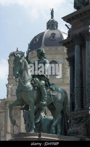 Austria. Vienna. Detail of  statue of Maria Theresia on Maria Theriesienplatz and Museum of Art History - Stock Photo