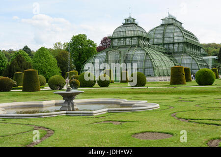 Austria. Vienna. The Palm pavilion in W part of the gardens of Schönbrunn Palace - Stock Photo