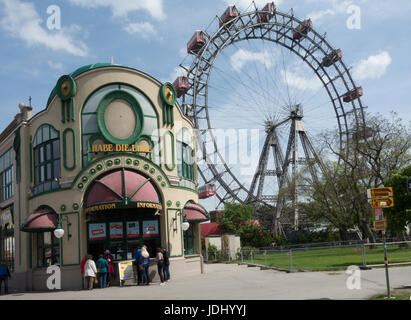 Austria. Vienna. The Vienna Giant Wheel in  Prater amusement park - Stock Photo
