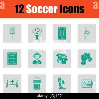 Set of soccer icons. Green on gray design. Vector illustration. - Stock Photo