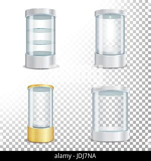 Round Empty Glass Showcase Podium Set With Spotlight And Sparks. Blank For Exhibit With A Pedestal. Isolated Realistic - Stock Photo