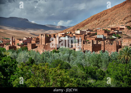 Morocco, Dades Valley remote rural village amongst red