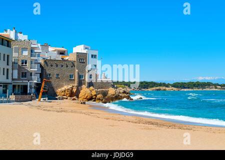 a view of the Malaespina beach in Calella de Palafrugell, Costa Brava, Catalonia, Spain - Stock Photo