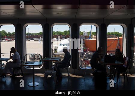 02.06.2017, Berlin, Germany, Europe - Passengers are seen waiting in the Lufthansa departure area at Berlin's Tegel - Stock Photo