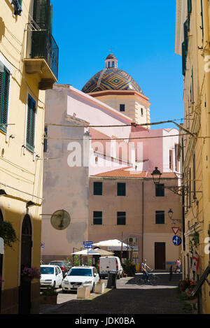 Alghero Sardinia, view of the San Michele church with its famous majolica-tiled dome in the old town area of Alghero, - Stock Photo