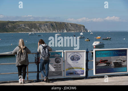 Swanage Pier and the Jurassic coastline Dorset England UK. June 2017. - Stock Photo