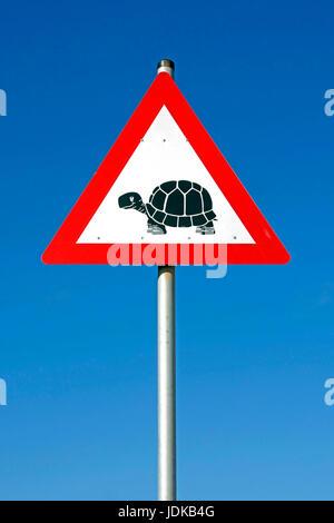 Road sign - esteem tortoises - Africa, Verkehrsschild - Achtung Schildkroeten - Afrika - Stock Photo