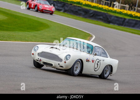 1960 Aston Martin DB4GT with driver Adrian Willmot during the Graham Hill Trophy race at Goodwood GRRC 75th Members - Stock Photo