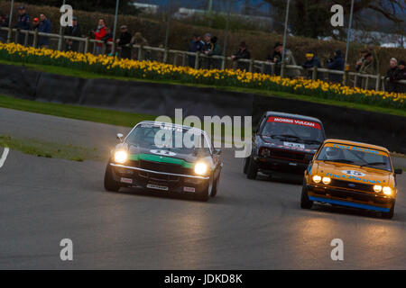 Chevrolet Camera Z28, Ford Capri 3.0s and Volkswagon Golf GTi battle it out during the Gerry Marshall Sprint at - Stock Photo
