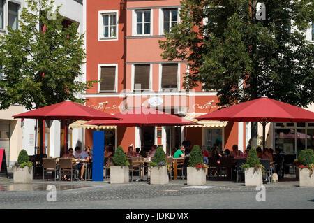 Europe, Germany, Bavaria, the Danube, Ingolstadt, parade place, street cafe, , Europa, Deutschland, Bayern, Donau, - Stock Photo