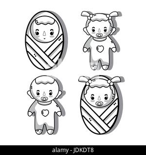 set babies with haistylec and pacifier - Stock Photo