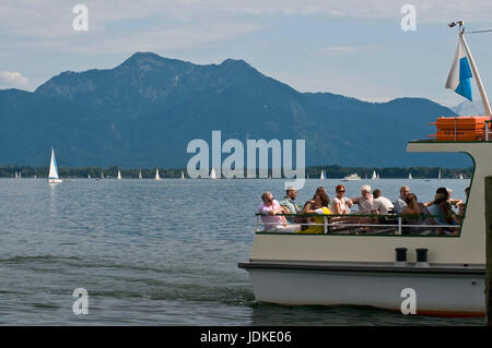 Europe, Germany, Bavaria, Lake Chiem, Chiemgau, Prien floor, look of the investor before the scenery of the Chiemgauer - Stock Photo