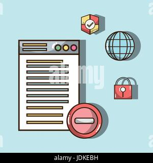 technology window with electronics elements icons - Stock Photo