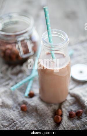 Homemade dairy free hazelnut milk - Stock Photo