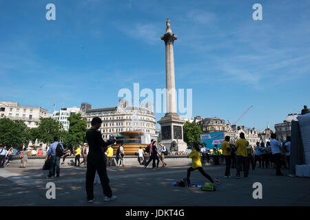International Yoga Day, Trafagar Square, London, UK. 20th June, 2017. The High Commision of India in association - Stock Photo