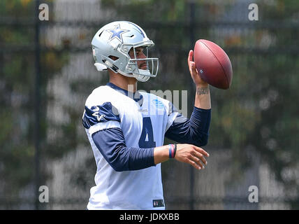 June 14th, 2017: .Dallas Cowboys quarterback Dak Prescott (4) .during an NFL minicamp at The Star in Frisco, TX.Manny - Stock Photo