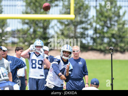 June 14th, 2017: .Dallas Cowboys quarterback Dak Prescott (4).during an NFL minicamp at The Star in Frisco, TX.Manny - Stock Photo