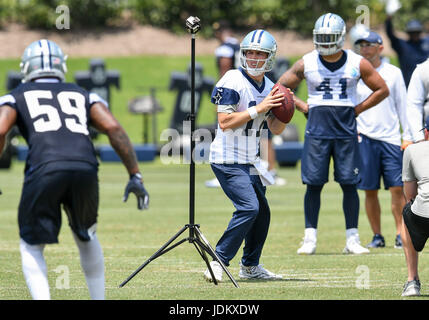 June 14th, 2017: .Dallas Cowboys quarterback Kellen Moore (17) .during an NFL minicamp at The Star in Frisco, TX.Manny - Stock Photo