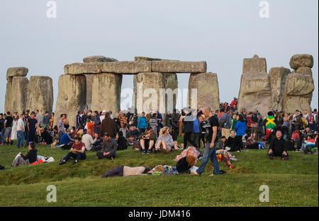 Summer Solstice celebrations at Stonehenge, Wiltshire  United Kingdom UK - Stock Photo