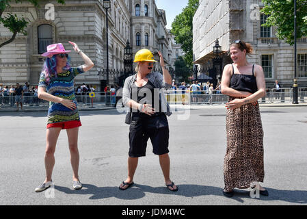 London, UK. 21st June, 2017. Anti-Tory protesters stage a 'dance off' outside Downing Street following the Queen's - Stock Photo