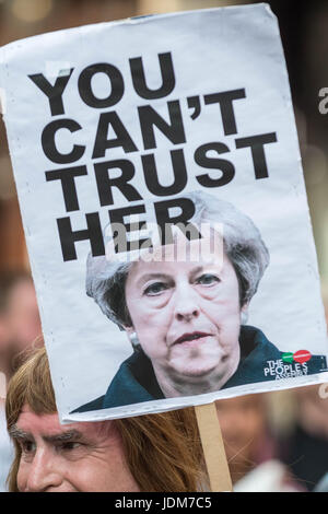 "London, UK. 21st June, 2017. ""Day of Rage"" march and protest in Westminster after the Queen's Speech. Many were - Stock Photo"