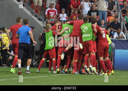 Tychy, Poland. 21st June, 2017. Czech players celebrate in action during the Czech Republic vs Germany match of - Stock Photo