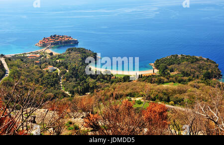 Colorful landscape of Montenegro: Sveti Stefan island from above - Stock Photo
