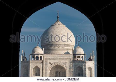Entrance to the Taj Mahal in Agra. - Stock Photo