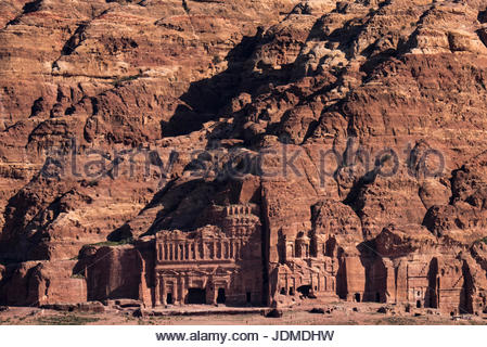 View of the Royal Tombs in Petra. - Stock Photo