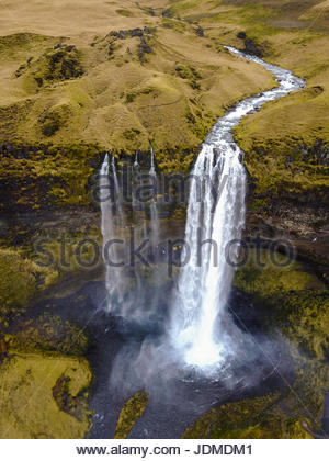 Aerial view of  Seljafoss waterfall in Iceland. - Stock Photo