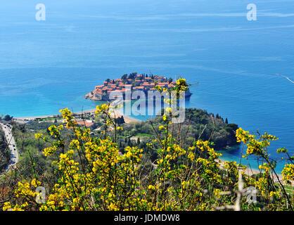 Top view of Saint Stefan island in Mediterranean sea, Montenegro - Stock Photo