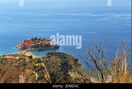Top view of Sveti Stefan island, Montenegro - Stock Photo