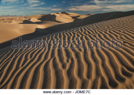 Wind sculpted dunes in California's Imperial Sand Dunes Recreation Area. - Stock Photo