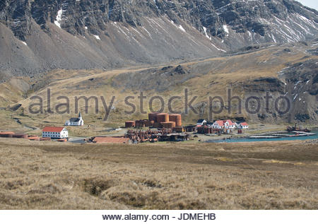Aerial view of Grytviken, a historical whaling town. - Stock Photo