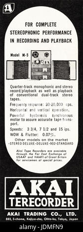 1960s advertisement advertising Akai tape recorder in American magazine dated 5th December 1960 - Stock Photo