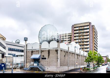 Montreal, Canada - May 26, 2017: CTV montreal with many antenna satellite dishes in city in Quebec region during - Stock Photo